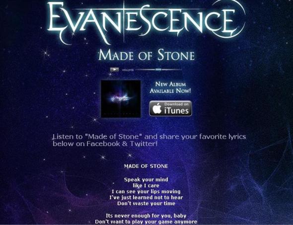 site oficial disponibiliza a letra da música made of stone para